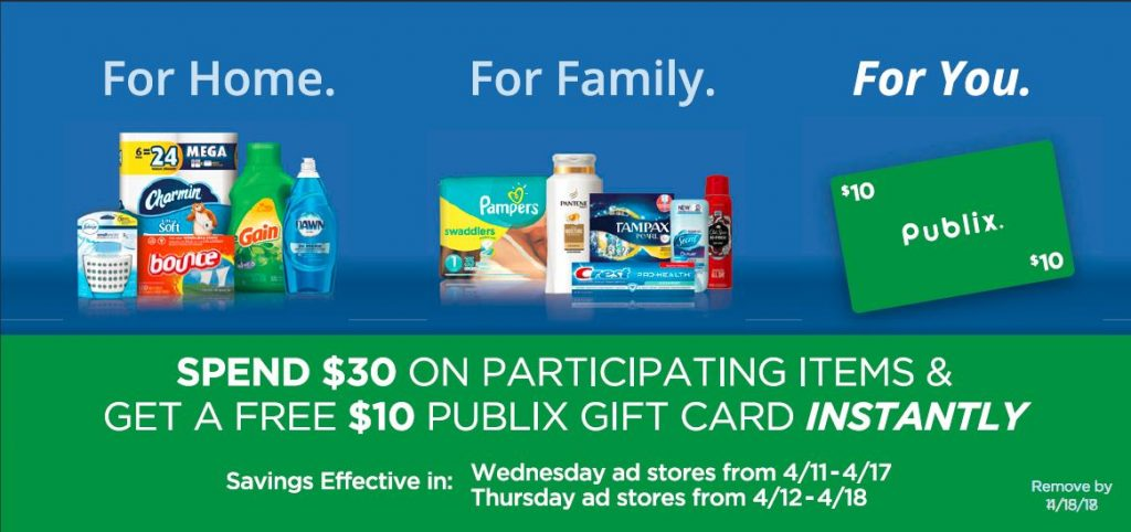 Publix Shoppers! Buy $30 worth of P&G Products, Receive a $10 Gift Card!