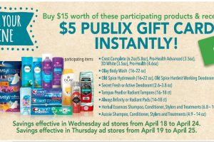 Rethink your routine! Buy $15 in P&G Beauty, Personal or Oral Care – Get $5 Publix gift card