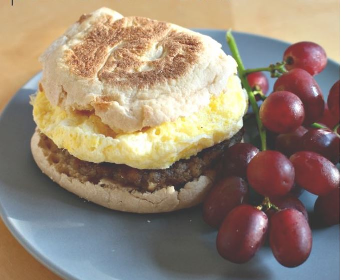 Sausage and egg English muffin sandwich.