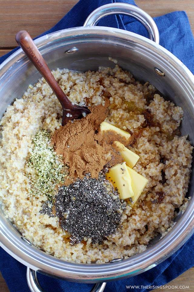 Overnight steel cut oats with butter and cinnamon.