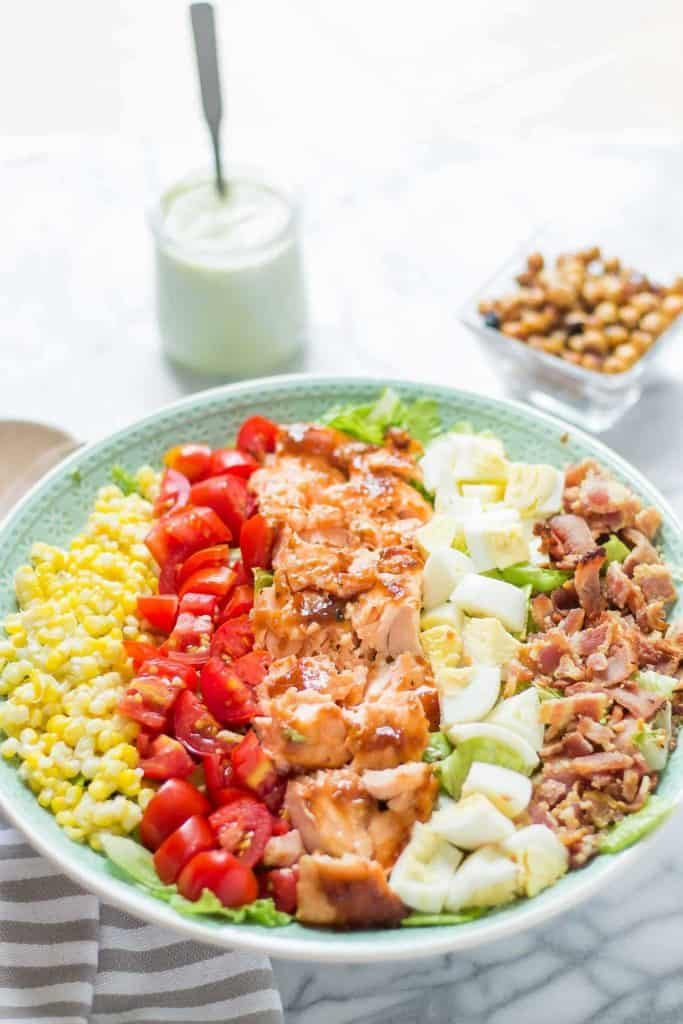 BBQ Salmon Cobb Salad with Avocado Ranch Dressing 9012 680px 683x1024 683x1024 - 12 Simple Salmon Recipes - Quick & Easy and Healthy too!
